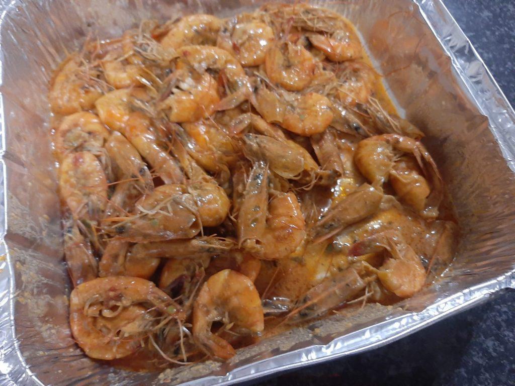 saucy grilled prawns